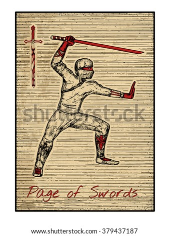 Page of swords in red. The minor arcana tarot card, vintage hand drawn engraved illustration with mystic symbols. Warrior with sword or ninja with katana - stock vector