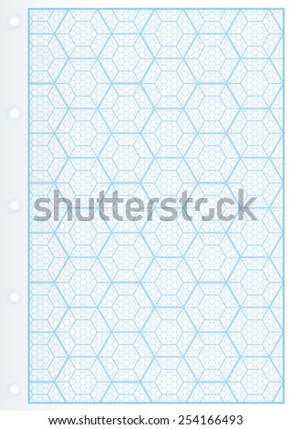 Page of Uncommon Graph Paper. Graph paper with hexagons. Smartly grouped.  - stock vector