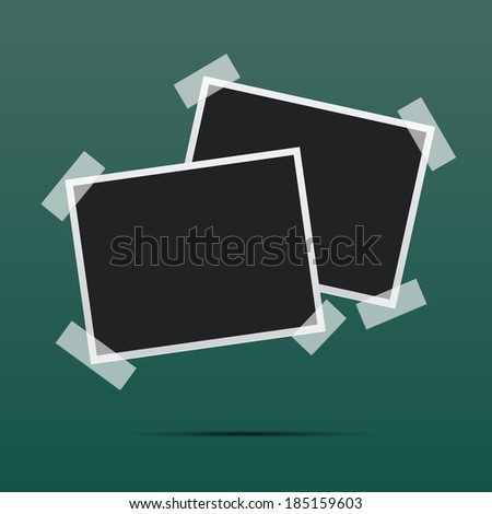 Page of vintage photo album, with photo frames  - stock vector
