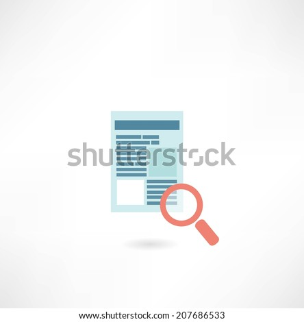 page on the Internet under the magnifying glass icon - stock vector