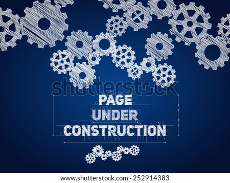 Page Under construction blueprint, sketched drawing with gear wheels - stock vector