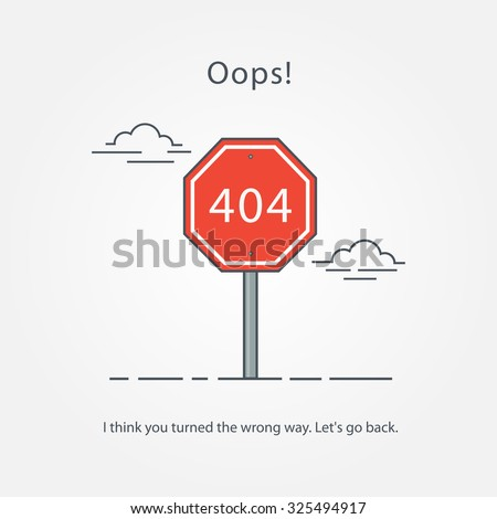 Page with a 404 error in the popular linear style. Template reports that the page is not found. - stock vector