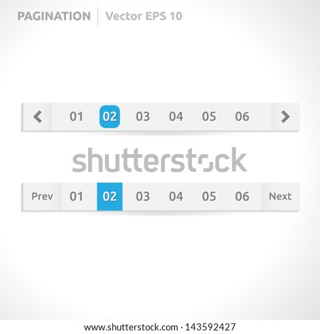 Pagination bars | color blue and white | abstract vector design | website element | paper silver look - stock vector