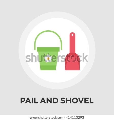 Pail and shovel icon vector. Flat icon isolated on the white background. Editable EPS file. Vector illustration. - stock vector