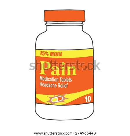 Pain Medication Bottle for when you Get Hurt on the Job or Have Back Pain or Even a Simple Headache.  The Capsules, Gel Tabs, or Tablets will Help You Feel Healthy and Strong.  The Drug Relieves Pain! - stock vector