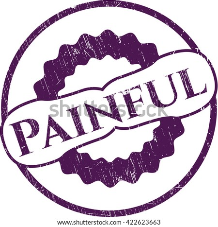 Painful rubber grunge texture stamp - stock vector