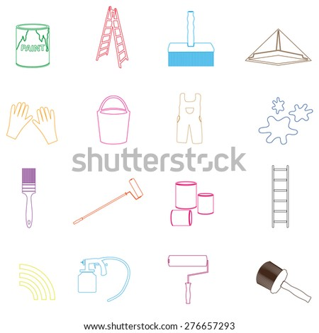 paint and room painter outline icons set eps10 - stock vector