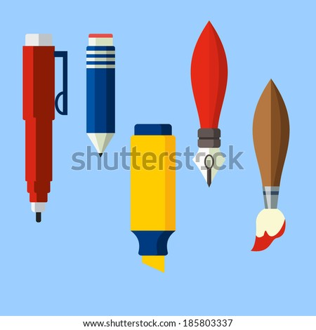 Paint and writing tools flat icons - stock vector