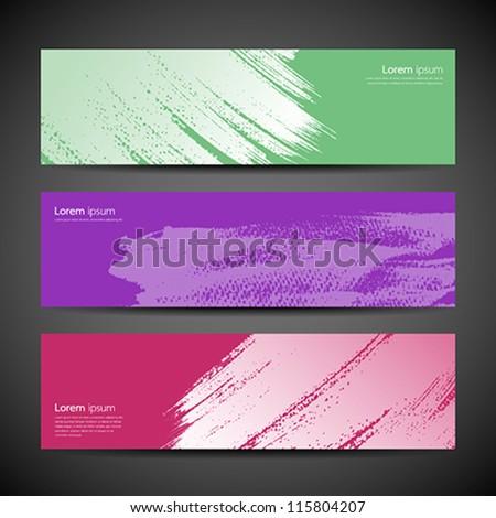 Paint brush banner colorful background set. vector illustration - stock vector