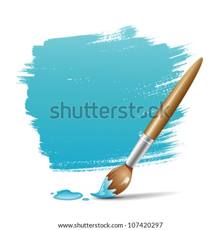 Paint brush. blue space your text design, vector illustration - stock vector