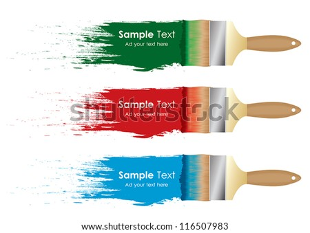 paint brush on white wall with sample text vector illustration - stock vector