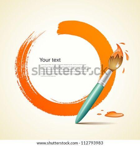 Paint brush. paint circle orange background, vector illustration - stock vector