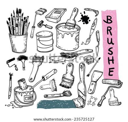 Paint brush set, vector illustration - stock vector