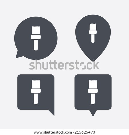 Paint brush sign icon. Artist symbol. Map pointers information buttons. Speech bubbles with icons. Vector - stock vector