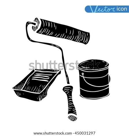 Paint brush, vector illustration, black - stock vector