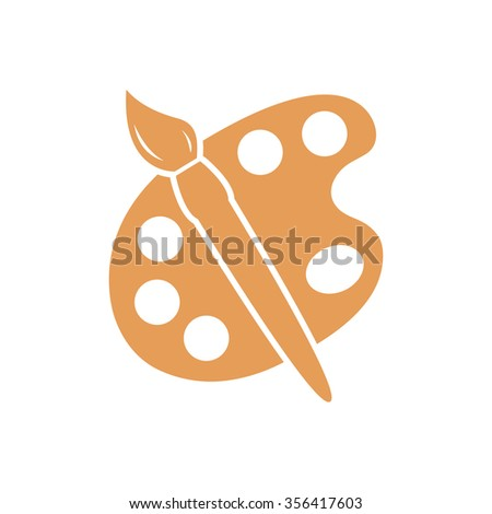 Paint brush with palette icon. Flat design style. - stock vector
