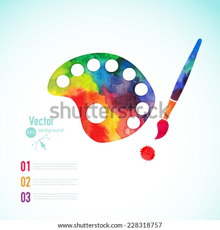 Paint brush with palette icon vector,  art palette with eight colors, vector illustration, art palette with paints and brush - stock vector