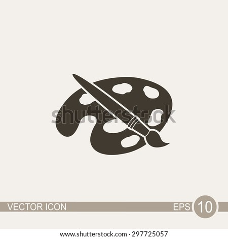 Paint brush with palette vector icon. - stock vector