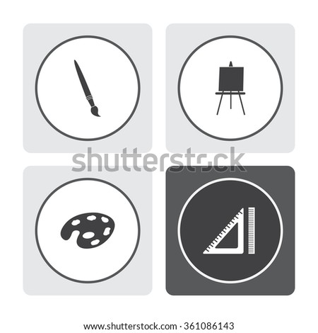 Paint brush with palette vector icon. Easel vector icon. Ruler vector icon. - stock vector
