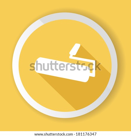 Paint brush,Yellow button,vector - stock vector