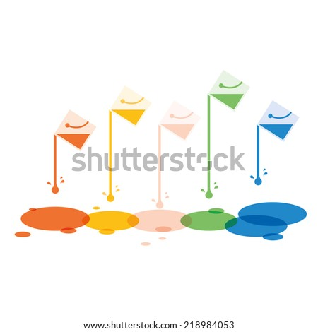 Paint bucket with colorful drop background. - stock vector