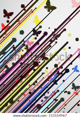 Paint color butterfly lines - stock vector