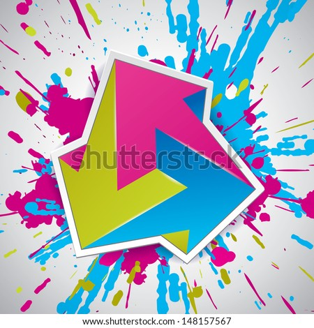 Paint explosion, impossible figure, impossible object, Impossible arrows, 3 arrows, abstract vector  - stock vector