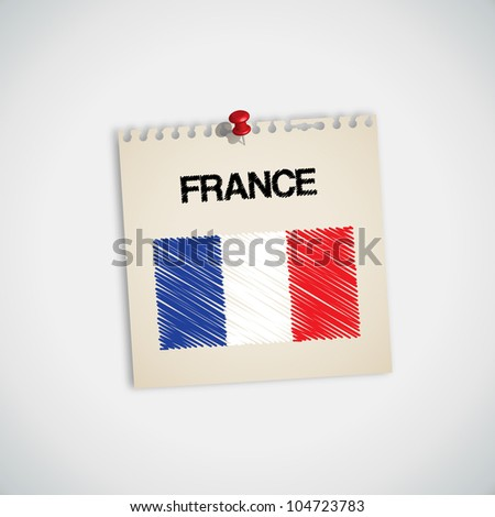 Paint Flag of France Note Paper Vector - stock vector