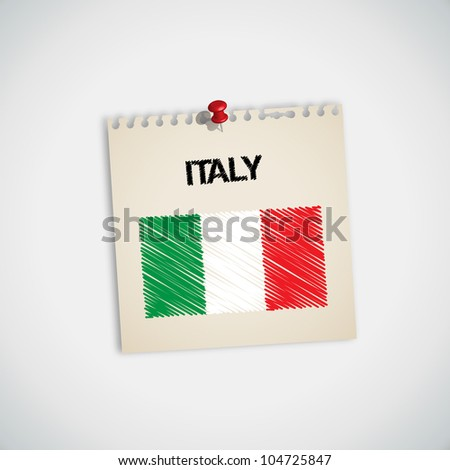 Paint Flag of Italy Note Paper Vector - stock vector