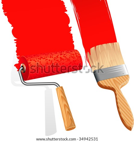 Paint roller and brush. Vector. - stock vector