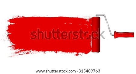 Paint roller and red color background - place for your text. Isolated on white background. Vector illustration. - stock vector