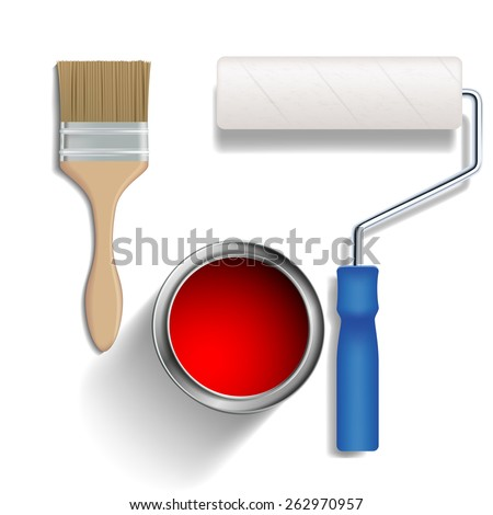 Paint roller, brush and a bucket of paint. Vector isolated on white background - stock vector