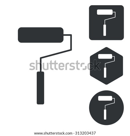 Paint roller icon set, monochrome, isolated on white - stock vector
