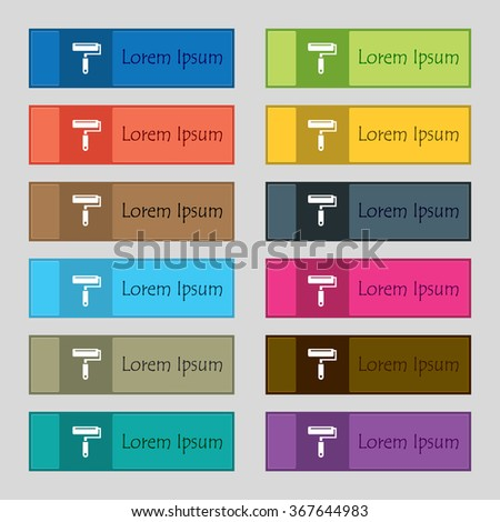 Paint roller icon sign. Set of twelve rectangular, colorful, beautiful, high-quality buttons for the site. Vector illustration - stock vector