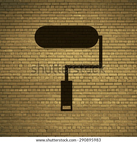 Paint roller icon symbol on a brick wall. vector - stock vector
