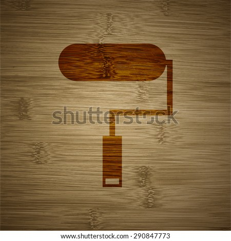 Paint roller icon symbol on a wooden background. Vector illustration - stock vector