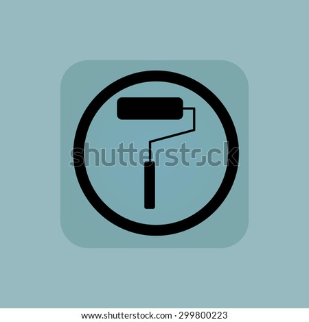 Paint roller in circle, in square, on pale blue background - stock vector