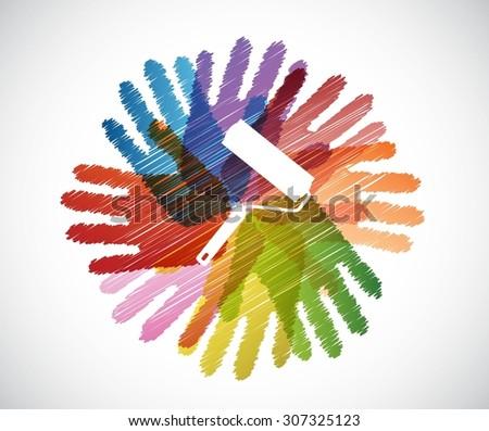 paint roller over diversity hands circle illustration design concept - stock vector