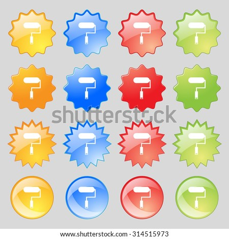 Paint roller sign icon. Painting tool symbol. Big set of 16 colorful modern buttons for your design. Vector illustration - stock vector