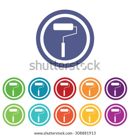 Paint roller signs set, on colored circles, isolated on white - stock vector
