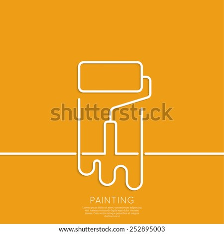 Paint roller with a strip of paint and drops. For ads, promotion, announcement and advertising. Outline. minimal. Vector icon. logo - stock vector