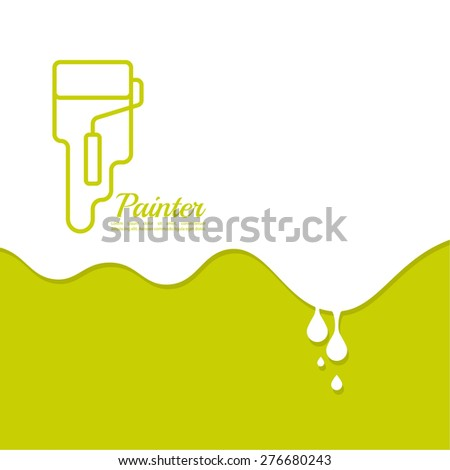 Paint roller with a strip of paint and drops. For ads, promotion, announcement and advertising. logo. Abstract background with drops of paint - stock vector