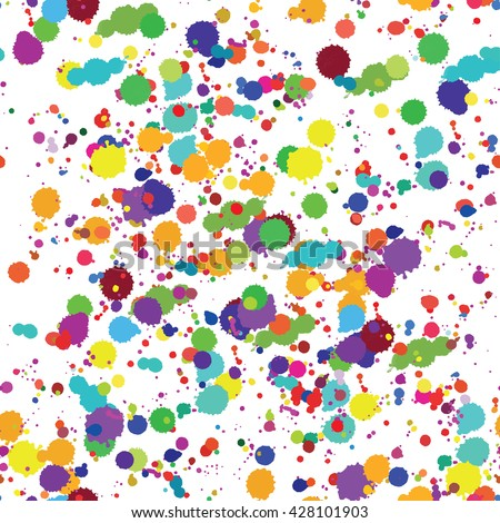 Paint splashes splatters abstract colorful vector background. Multicolored rainbow seamless pattern - stock vector