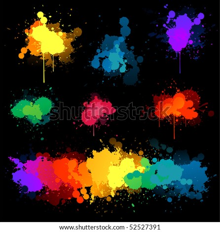 Paint splats on black background - stock vector
