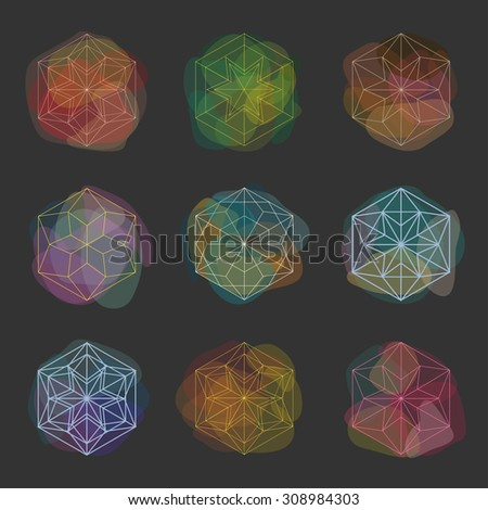 Paint spots. Abstract transparent vector spots. Watercolor effect. Winter abstract design elements. - stock vector