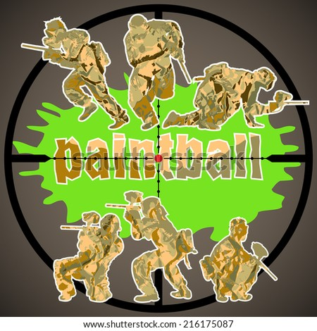 Paintball players, vector illustration 4 your design, eps10 3 layers - stock vector