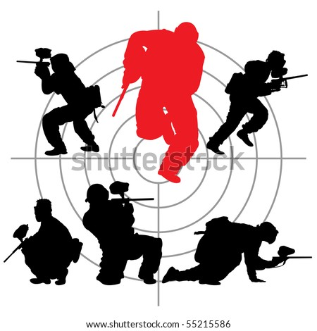 paintball silhouettes and a target, vector illustration - stock vector