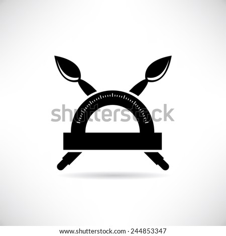 paintbrush and ruler, protractor - stock vector
