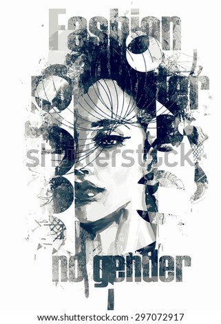 Painted abstract fashion illustration with beautiful lady - stock vector