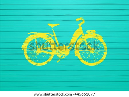 Painted bicycle on painted wooden board. Photorealistic vector. - stock vector